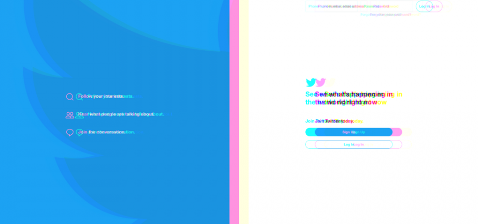 Screenshot of Twitter Login Page with Color Filter