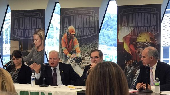 Congressman Doyle speaks about NAFTA at a trade forum hosted by the Blue-Green Alliance at the USW headquarters in Pittsburgh