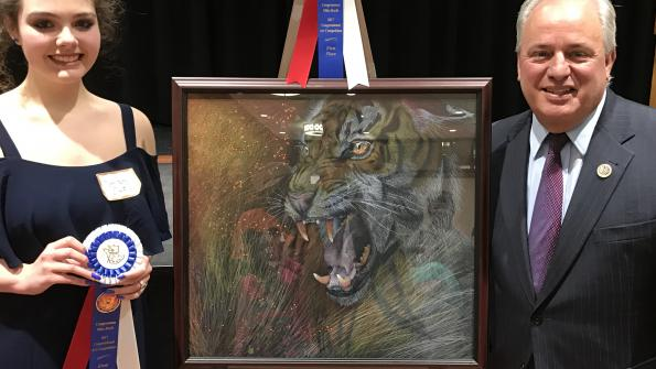 Congressman Doyle with Macy Kelly Ernst, winner of his 2017 Congressional high school art competition