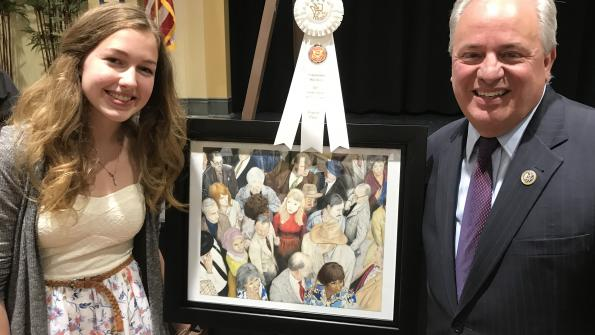 "Congressman Doyle and Haley Peretic from Cornerstone Christian Preparatory Academy with her pencil and colored pencil drawing entitled ""Every Day People."""