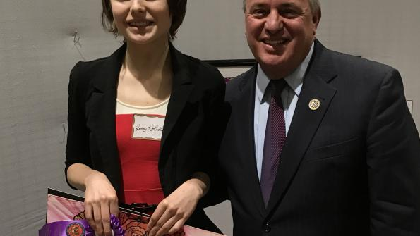"Congressman Doyle and Jenny Rohach from West Mifflin High School with her composition ""Empty Mirror"""