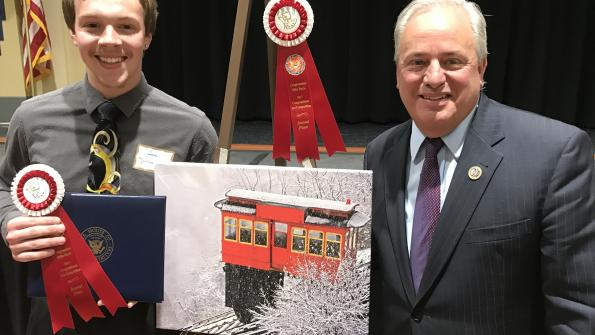 Congressman Doyle with Jake Mysliwczyk from Baldwin High School, whose artwork won Second Place in Congressman Doyle's 2017 Congressional Art Competition