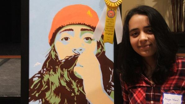 Faiza Amir from Woodland High School with her artwork