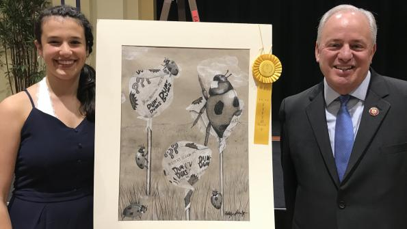 Congressman Doyle and 5th Place award recipient Hayley Shevitz from Pittsburgh CAPA and her charcoal drawing entitled