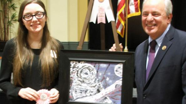 Art Competition Fifth Place Recipient Nicole Bonomo with Congressman Doyle
